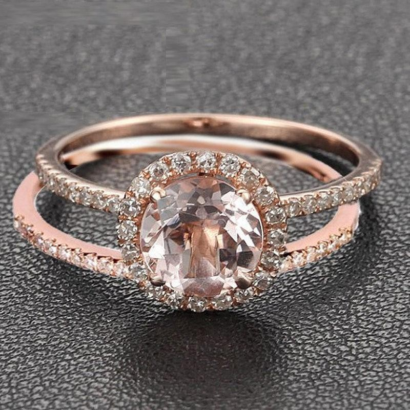 Limited Time Sale 150 carat Round Cut Morganite and Diamond Halo