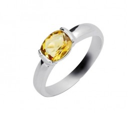 1.20 Carat Citrine Engagement Ring on Silver