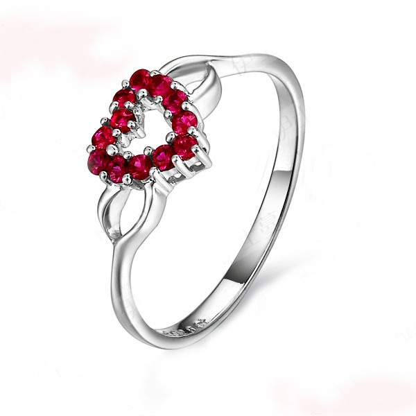 shape ruby engagement ring on 9ct white gold