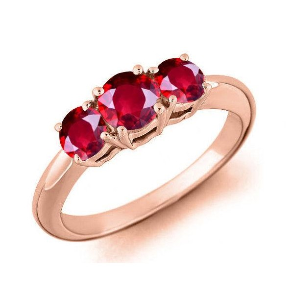 Past present future rings three stone engagement rings three limited time sale trilogy three stone 1 carat red ruby engagement ring in 10k rose gold for women on sale aloadofball Gallery