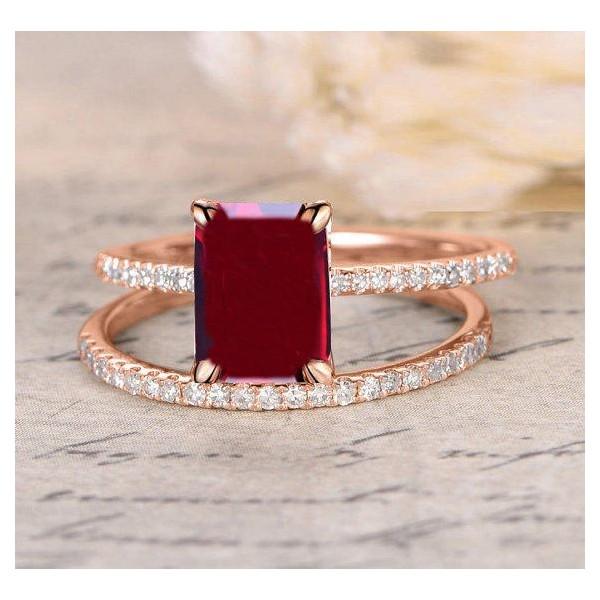 Emerald Cut Ruby Wedding Rings: Limited Time Sale: 1.25 Carat Red Ruby (emerald Cut Ruby