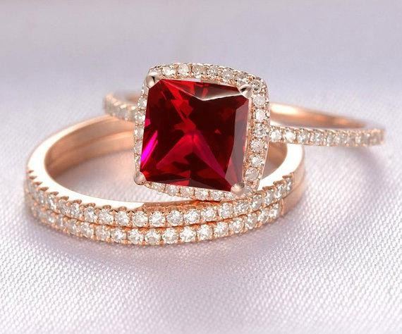 Limited Time Sale 1 50 Carat Red Ruby Princess Cut Ruby And Diamond Engagement Bridal Trio Wedding Ring Set In 10k Rose Gold Jeenjewels