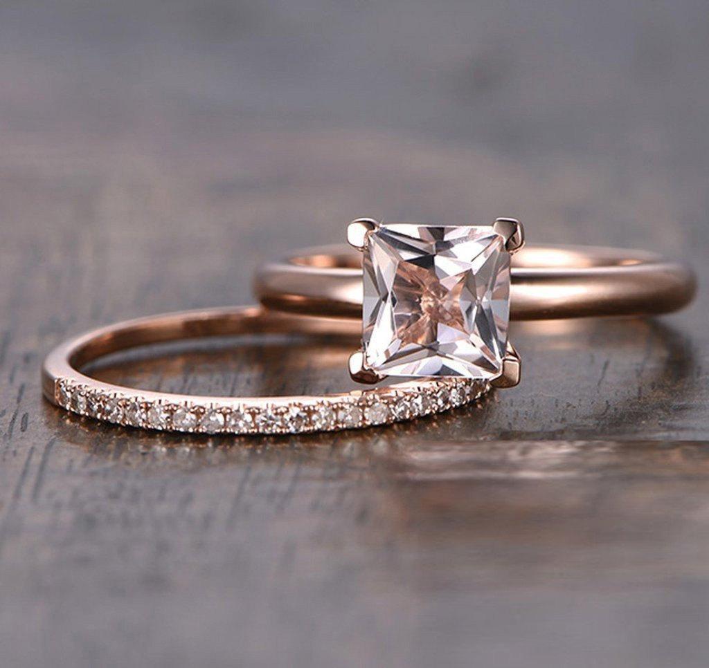 Engagement Rings Sale Rose Gold: Sale: 1.25 Carat Peach Pink Morganite (princess Cut