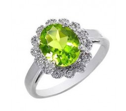 2 Carat Peridot Engagement Ring on Silver