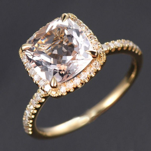 1.50 Carat Cushion Cut Peach Pink Morganite and Diamond Halo Engagement Ring in 10k Yellow Gold for Women on Sale