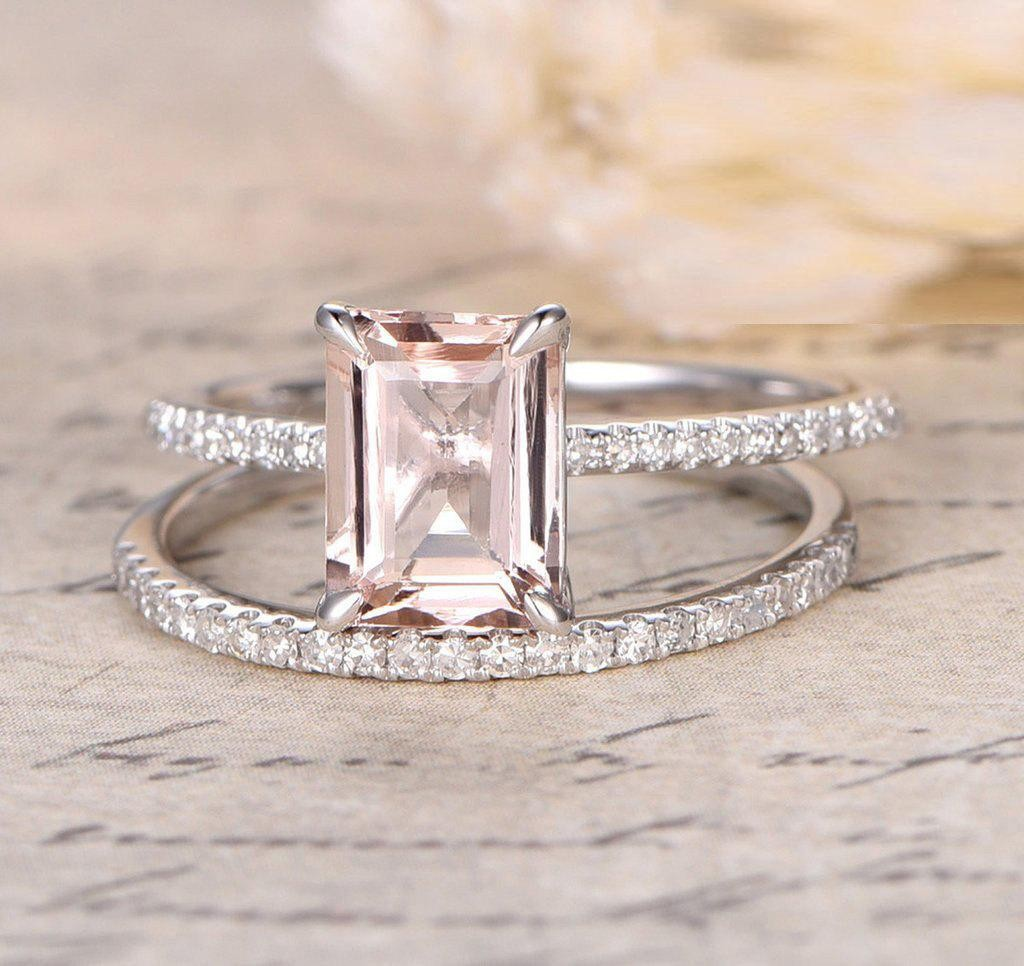 Sale 150 carat peach pink morganite emerald cut for Emerald and diamond wedding ring