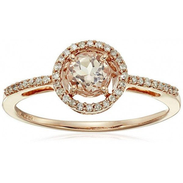 Limited Time Sale: 1.25 Carat Peach Pink Morganite (Round cut Morganite) and Diamond Engagement Ring in 10k Rose Gold
