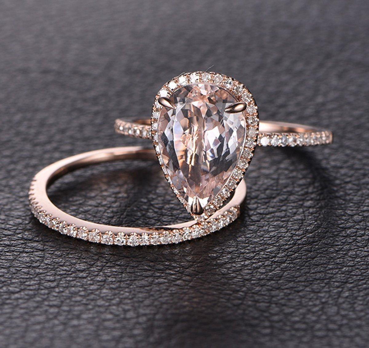 Perfect Bridal Set On Sale 1 50 Carat Pear Cut Morganite