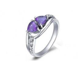 1 Carat Amethyst Engagement Ring on Silver