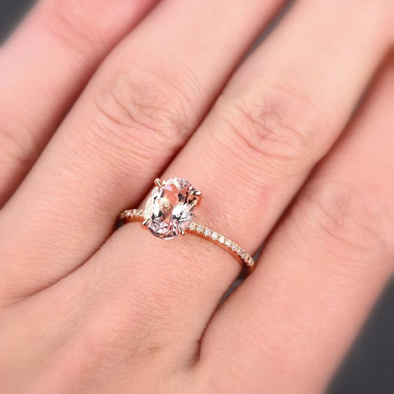 Engagement Rings Sale Rose Gold: Limited Time Sale 1.25 Carat Morganite And Diamond