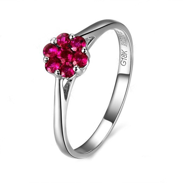 Flower Shape Ruby Engagement Ring On 10k White Gold JeenJewels