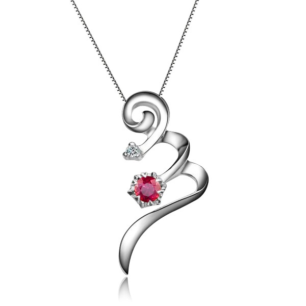 Beautiful solitaire ruby pendant on 10k white gold jeenjewels beautiful solitaire ruby pendant on 10k white gold mozeypictures Image collections