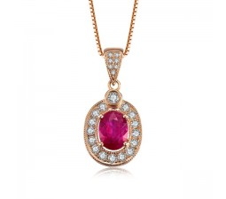 Exquisite Ruby and Diamond Pendant on 18k Rose Gold