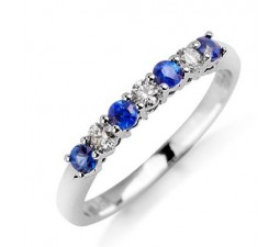 Sapphire and Diamond Wedding Band on 10k White Gold