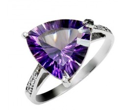4 Carat Amethyst Engagement Ring on Silver