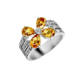 1.25 Carat Citrine Engagement Ring on Silver