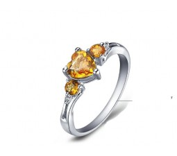 1 Carat Citrine Engagement Ring on Silver