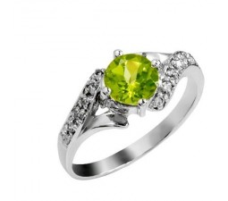 1 Carat Peridot Engagement Ring on Silver