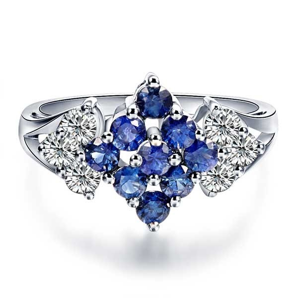 Sapphire And Diamond Engagement Ring On 18k White Gold
