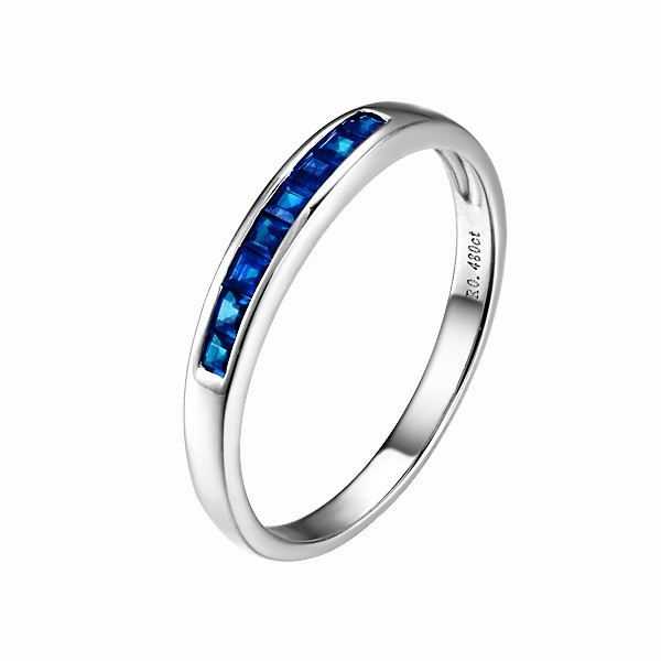 Sapphire Wedding Band on 10k White Gold - JeenJewels