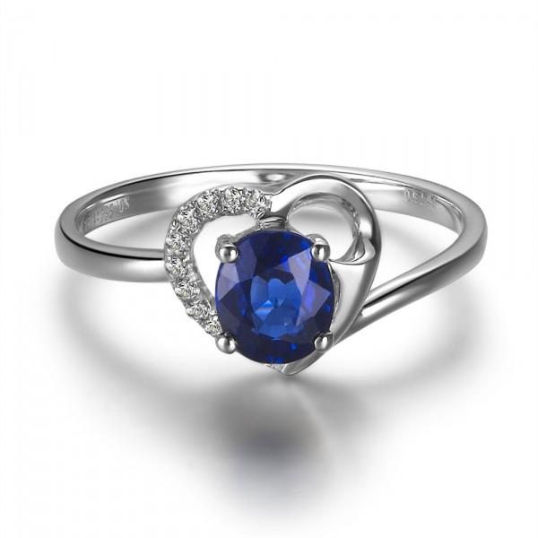 Heart Shape Sapphire And Diamond Engagement Ring Jeenjewels