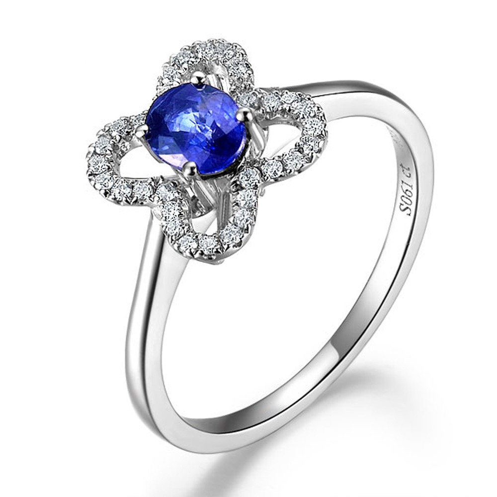 Jewelry Sapphire Flower Shape Sapphire And Diamond Engagement Ring