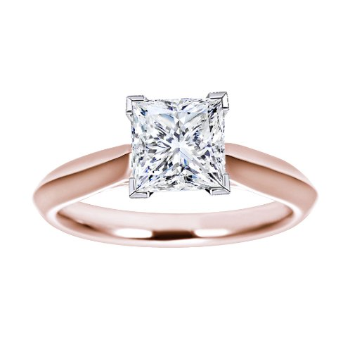 1 Carat Princess Cut VVS1 Solitaire Engagement Ring on solid 10k Rose Gold